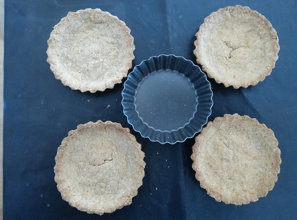 4 fonds de tartelettes avec pâte sablée vegan