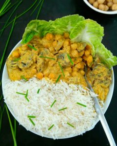 Curry de pois chiche au tofu soyeux