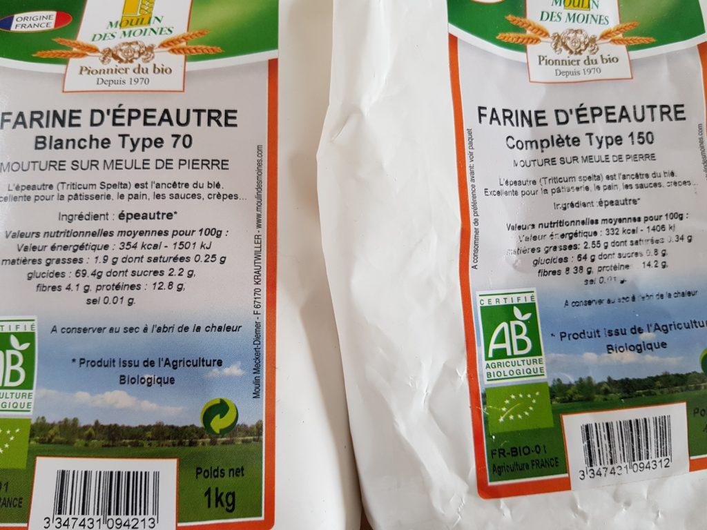 Comparaison des macro-nutriments entre la farine d'engrain T70 et la T150