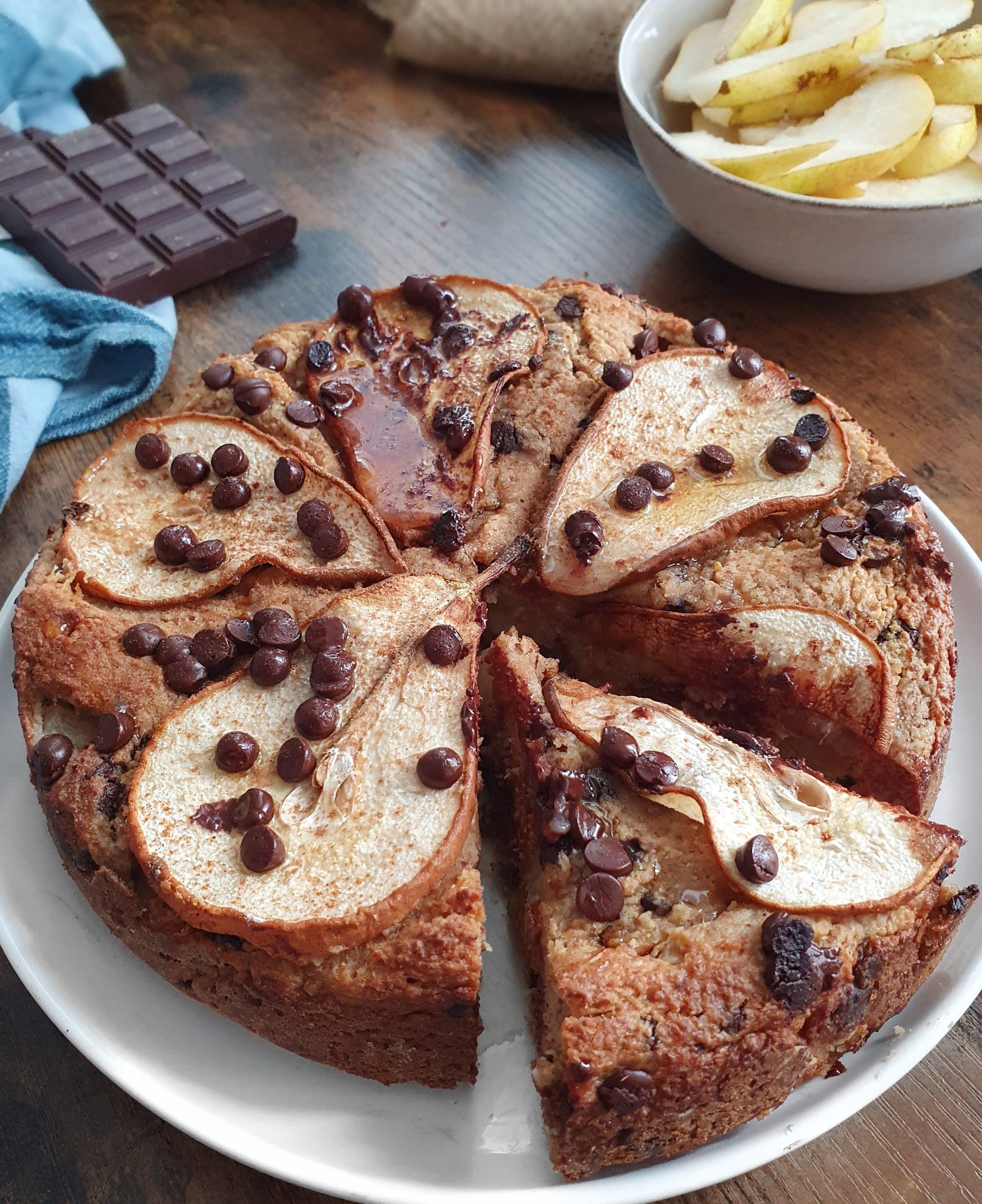 Gâteau Poire d'Avoine Sans Sucre ni Gluten (Vegan)